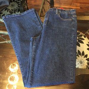 NYDJ Tummy Tuck dark denim jeans flare leg 10